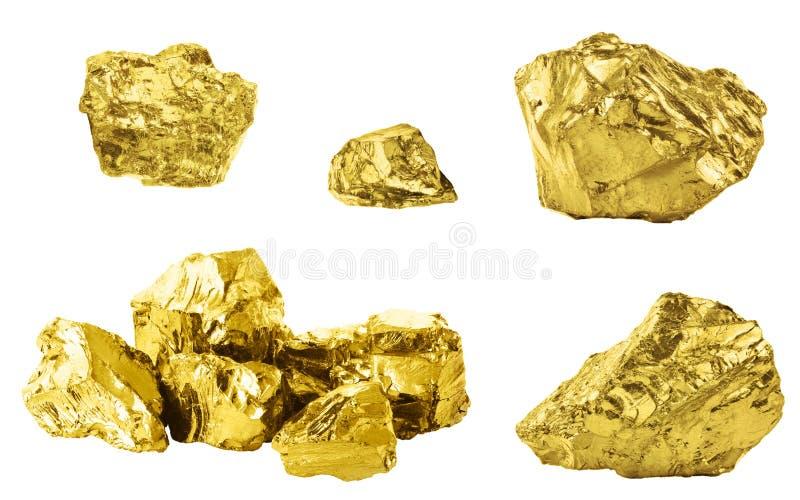 Σύνολο χρυσών ψηγμάτων που απομονώνεται στο άσπρο υπόβαθρο Διαφορετικοί φραγμοί του χρυσού που απομονώνεται στο άσπρο υπόβαθρο στοκ εικόνα