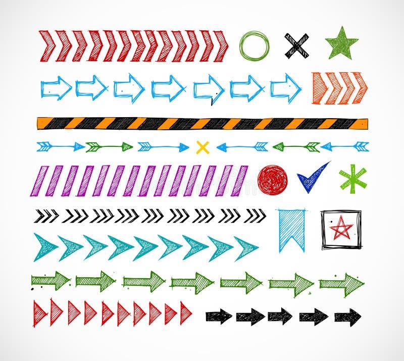 Σύνολο χρωματισμένης doodle διαιρετών βελών, δεικτών, ταινίας κινδύνου και στοιχείων σχεδίου ελεύθερη απεικόνιση δικαιώματος