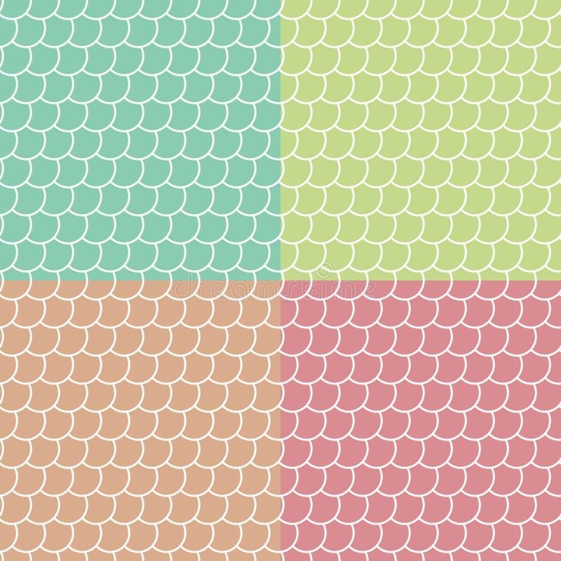 Σύνολο χρωματισμένων άνευ ραφής σχεδίων κλιμάκων ψαριών ελεύθερη απεικόνιση δικαιώματος
