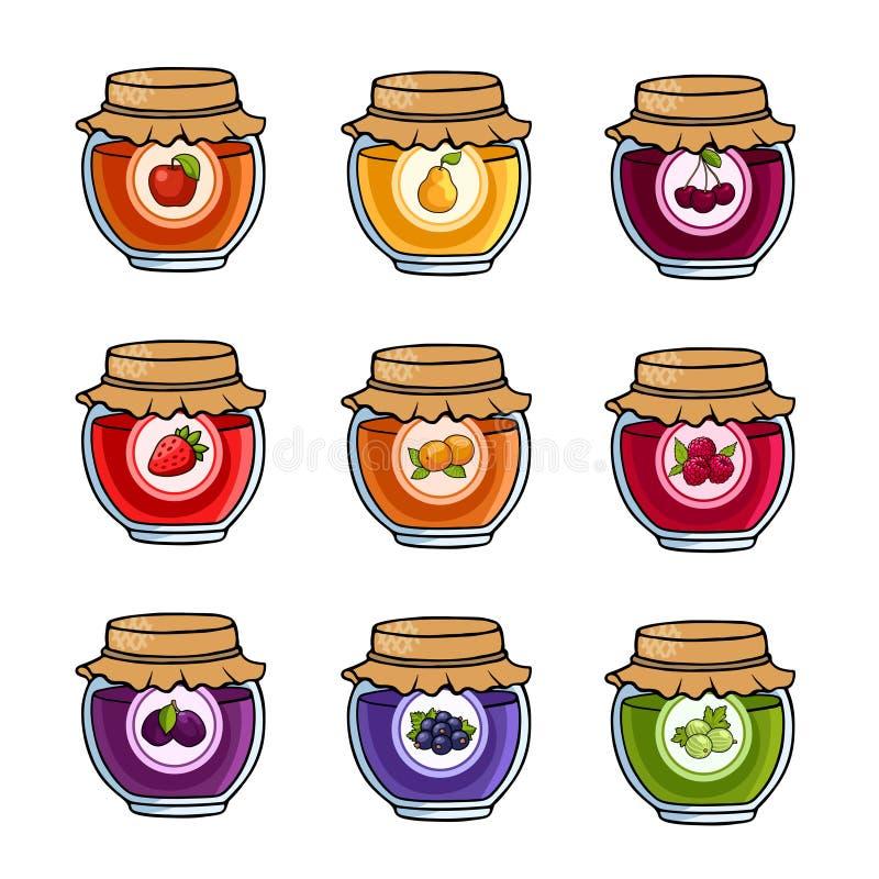 Σύνολο χρωματισμένων βάζων με την εύγευστη σπιτική μαρμελάδα ελεύθερη απεικόνιση δικαιώματος