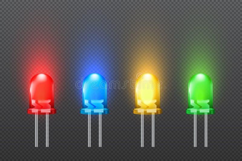 Σύνολο χρωματισμένων εκπεμπουσών φως διόδων με την επίδραση πυράκτωσης, συλλογή των οδηγήσεων ελεύθερη απεικόνιση δικαιώματος