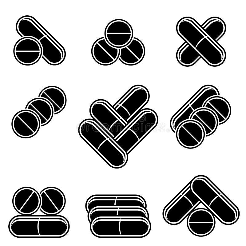 Σύνολο χρωματισμένων ιατρικών χαπιών φάρμακα που τίθενται Κάψες ιατρικής του φαρμάκου Χρωματισμένα φαρμακευτικά αντιβιοτικά ελεύθερη απεικόνιση δικαιώματος
