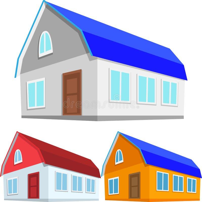 Σύνολο χρωματισμένων σπιτιών ελεύθερη απεικόνιση δικαιώματος