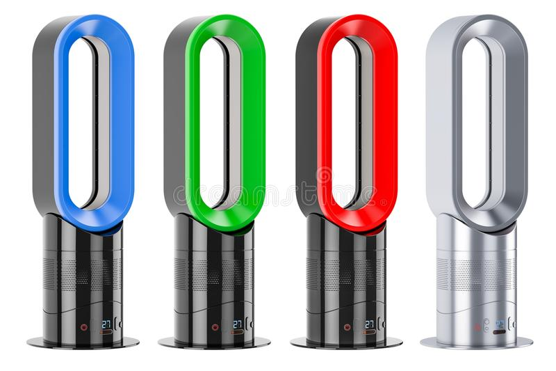 Σύνολο χρωματισμένων χωρίς πτερύγια ανεμιστήρων αέρα ή πολλαπλασιαστών αέρα, τρισδιάστατο renderi διανυσματική απεικόνιση