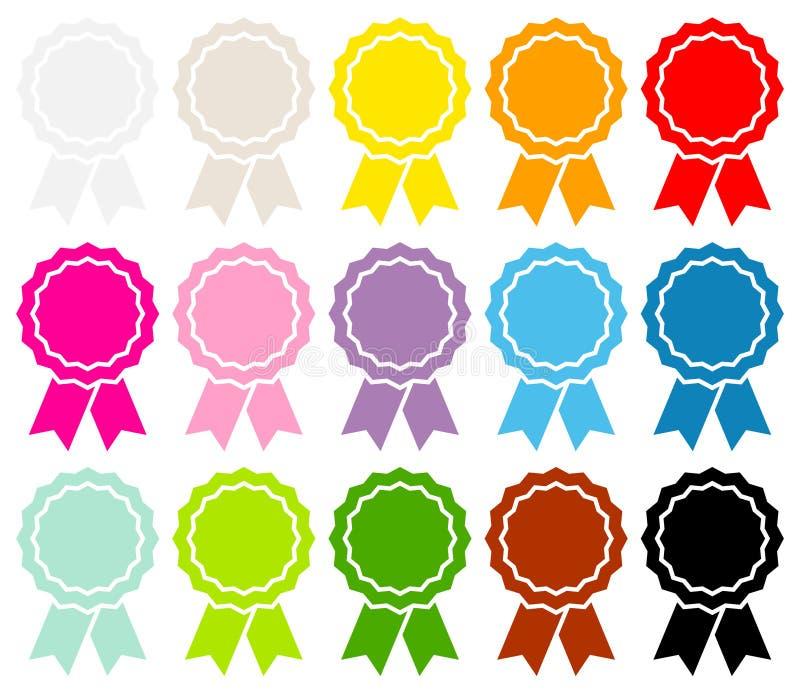 Σύνολο χρώματος κορδελλών δεκαπέντε γραφικού μεταλλίων διανυσματική απεικόνιση
