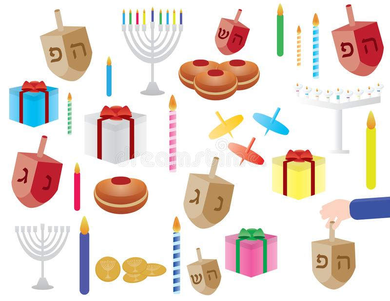 Σύνολο χρώματος Hanukkah cliparts απεικόνιση αποθεμάτων