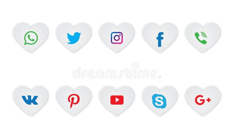Σύνολο όλου του κοινωνικού εικονιδίου δικτύων μέσων Κοινωνική συλλογή λογότυπων μέσων ελεύθερη απεικόνιση δικαιώματος