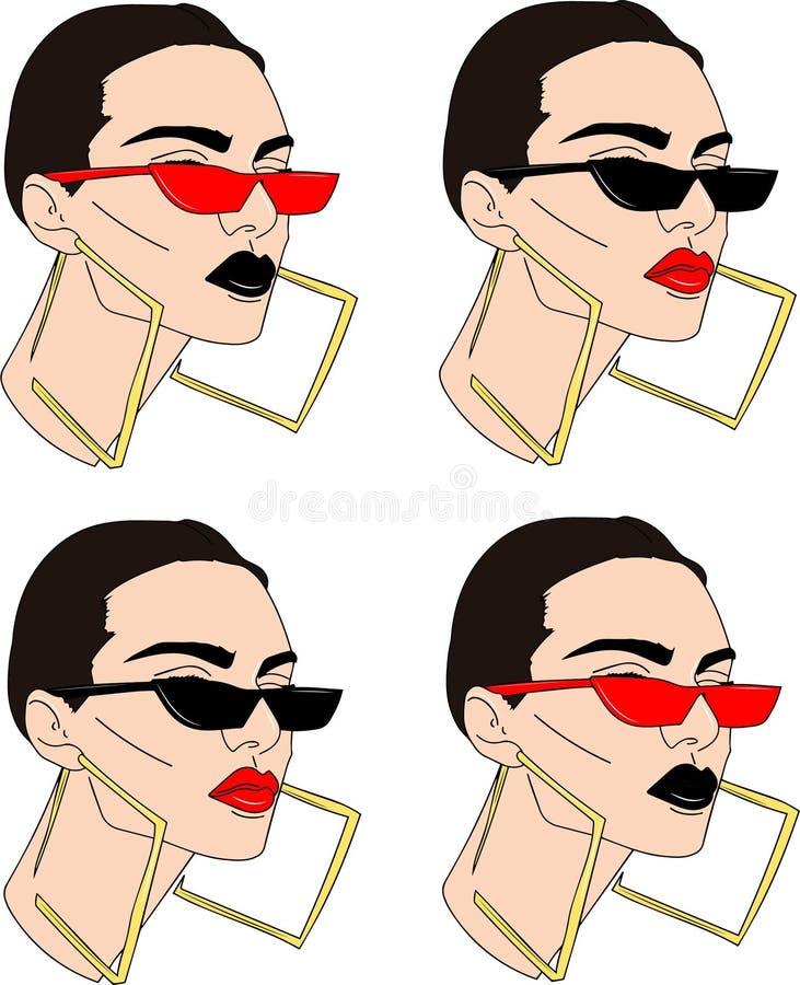 Σύνολο όμορφης γυναίκας στα γυαλιά στο άσπρο υπόβαθρο ελεύθερη απεικόνιση δικαιώματος