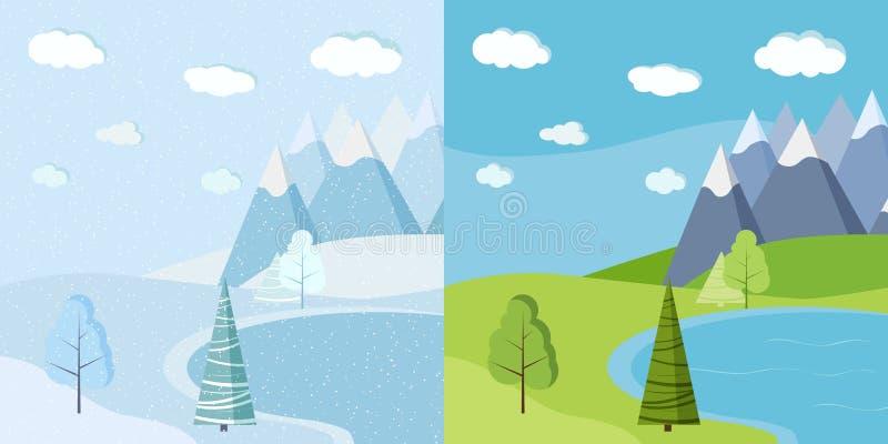 Σύνολο όμορφου χειμώνα Χριστουγέννων και πράσινου τοπίου καλοκαιριού ή άνοιξης ελεύθερη απεικόνιση δικαιώματος