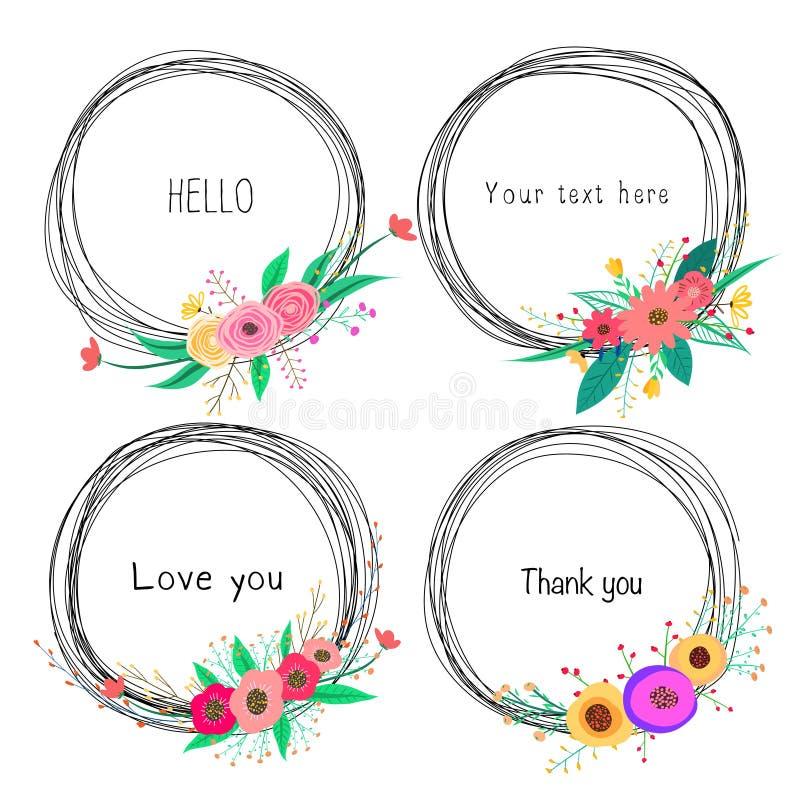 Σύνολο όμορφων στρογγυλών πλαισίων με το λουλούδι για τη διακόσμηση Διακοσμητικό στοιχείο για τη γαμήλια κάρτα ελεύθερη απεικόνιση δικαιώματος
