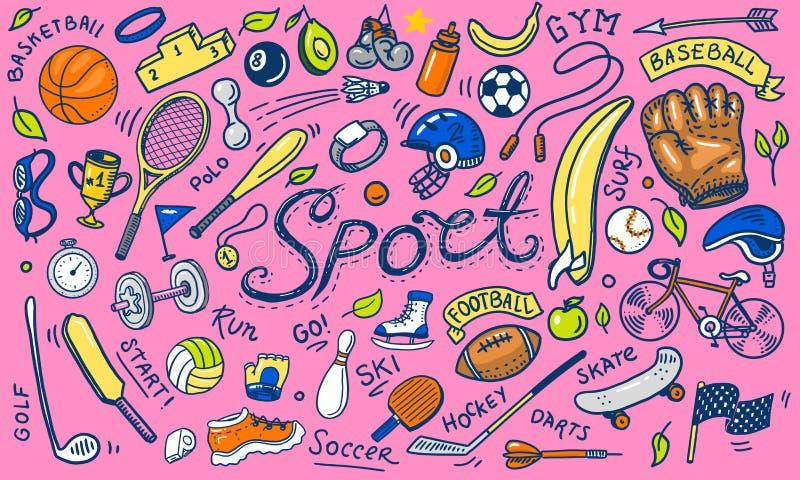 Σύνολο ύφους αθλητικών εικονιδίων doodle Εξοπλισμός για την ικανότητα και την κατάρτιση Σύμβολα της υγείας και της δραστηριότητας διανυσματική απεικόνιση