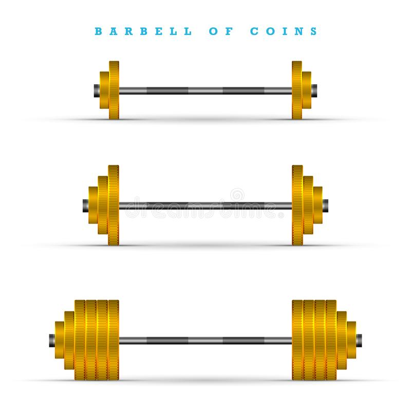 Σύνολο barbells με τα διαφορετικά βάρη Χρυσοί φραγμοί νομισμάτων διανυσματική απεικόνιση