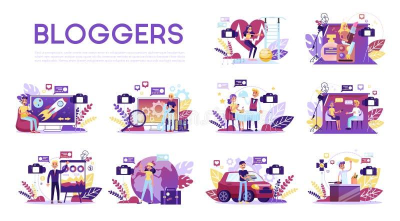 Σύνολο Blogger Το διάφορο βίντεο blogger κάνει την αναθεώρηση απεικόνιση αποθεμάτων