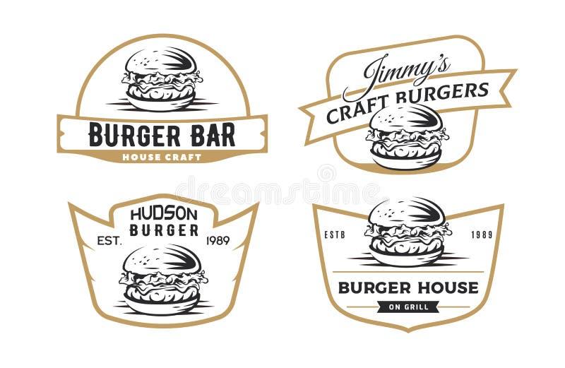 Σύνολο burger εμβλημάτων, διακριτικών και λογότυπου στοκ εικόνες με δικαίωμα ελεύθερης χρήσης