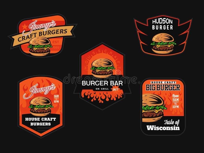 Σύνολο burger λογότυπου, εμβλημάτων και διακριτικών καταστημάτων στοκ εικόνα με δικαίωμα ελεύθερης χρήσης