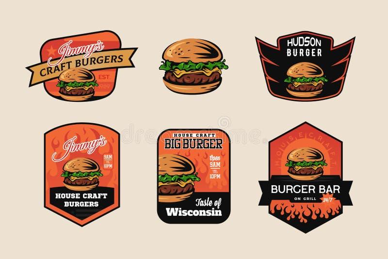 Σύνολο burger λογότυπου, εμβλημάτων και διακριτικών καταστημάτων στοκ φωτογραφίες με δικαίωμα ελεύθερης χρήσης