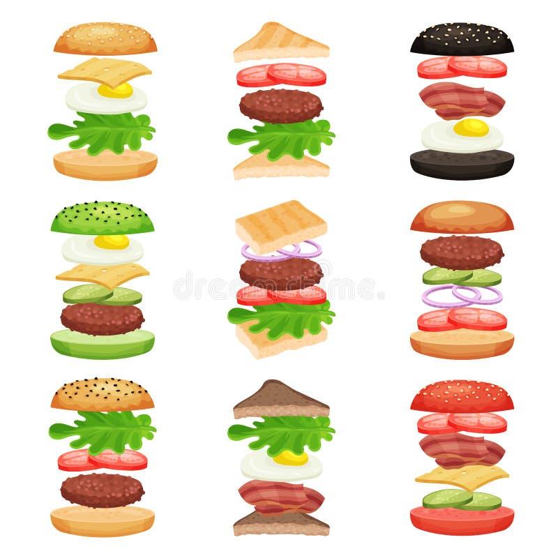Σύνολο burgers και σάντουιτς με τα πετώντας συστατικά Νόστιμο γρήγορο φαγητό εύγευστο πρόχειρο φαγη&tau Επίπεδο διανυσματικό σχέδ διανυσματική απεικόνιση