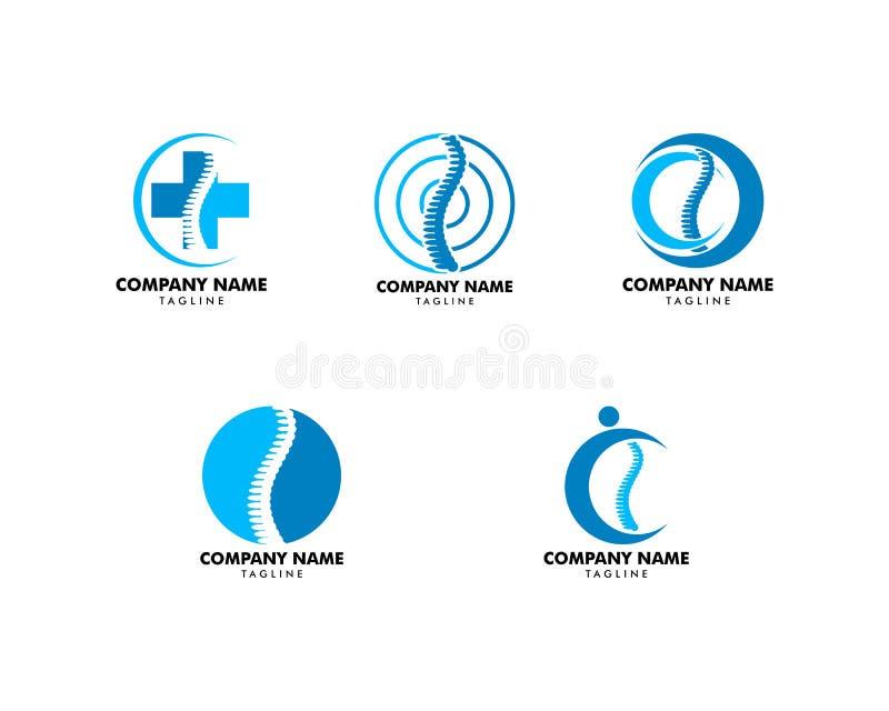 Σύνολο Chiropractic προτύπου σχεδίου λογότυπων έννοιας απεικόνιση αποθεμάτων