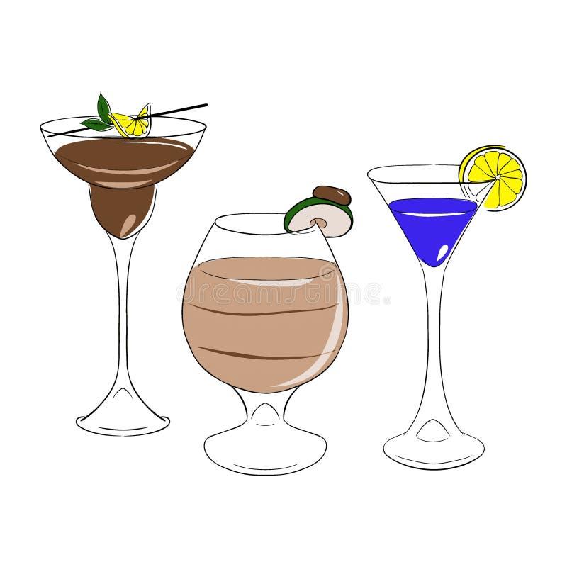 Σύνολο cocktales απομονωμένο διάνυσμα άσπρο backgrond του OM ελεύθερη απεικόνιση δικαιώματος