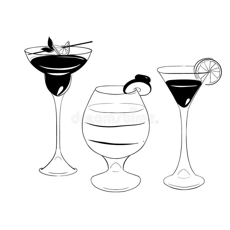 Σύνολο cocktales διάνυσμα Απομονωμένο άσπρο backgrond του OM διανυσματική απεικόνιση