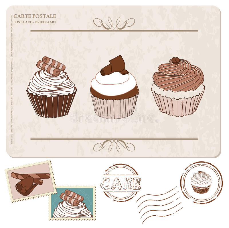 Σύνολο cupcakes στην παλαιά κάρτα, με τα γραμματόσημα απεικόνιση αποθεμάτων