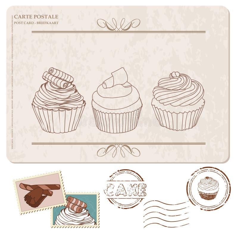 Σύνολο cupcakes στην παλαιά κάρτα, με τα γραμματόσημα ελεύθερη απεικόνιση δικαιώματος