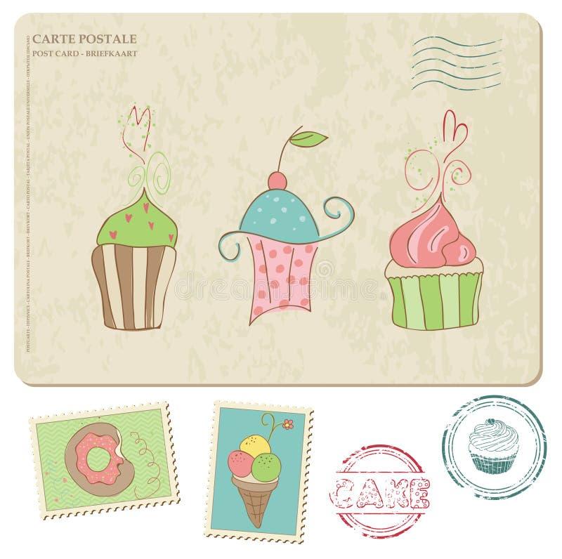 Σύνολο cupcakes στην παλαιά κάρτα, με τα γραμματόσημα διανυσματική απεικόνιση