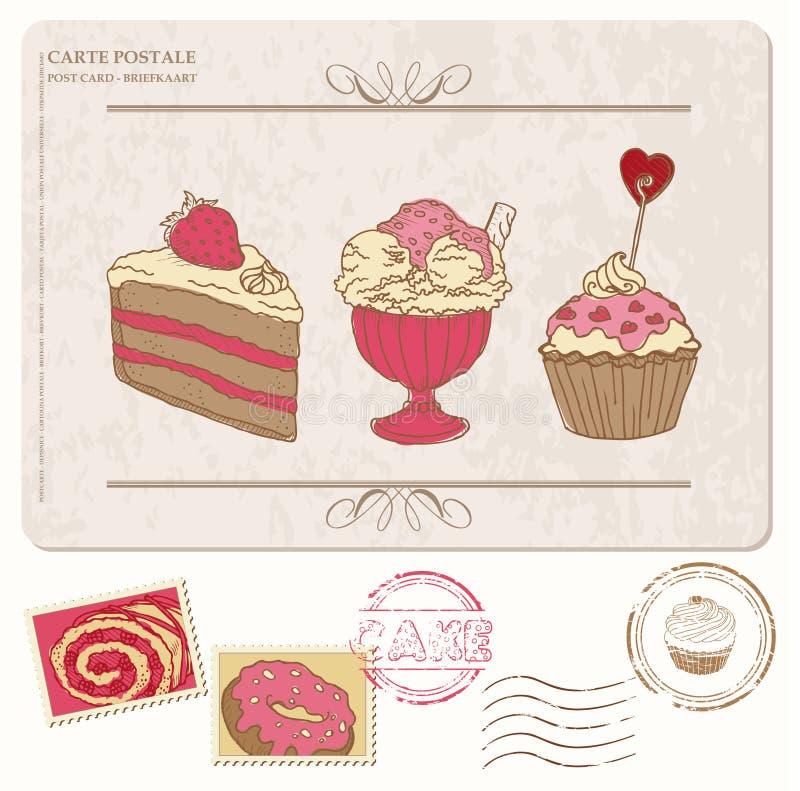 Σύνολο cupcakes στην παλαιά κάρτα με τα γραμματόσημα διανυσματική απεικόνιση