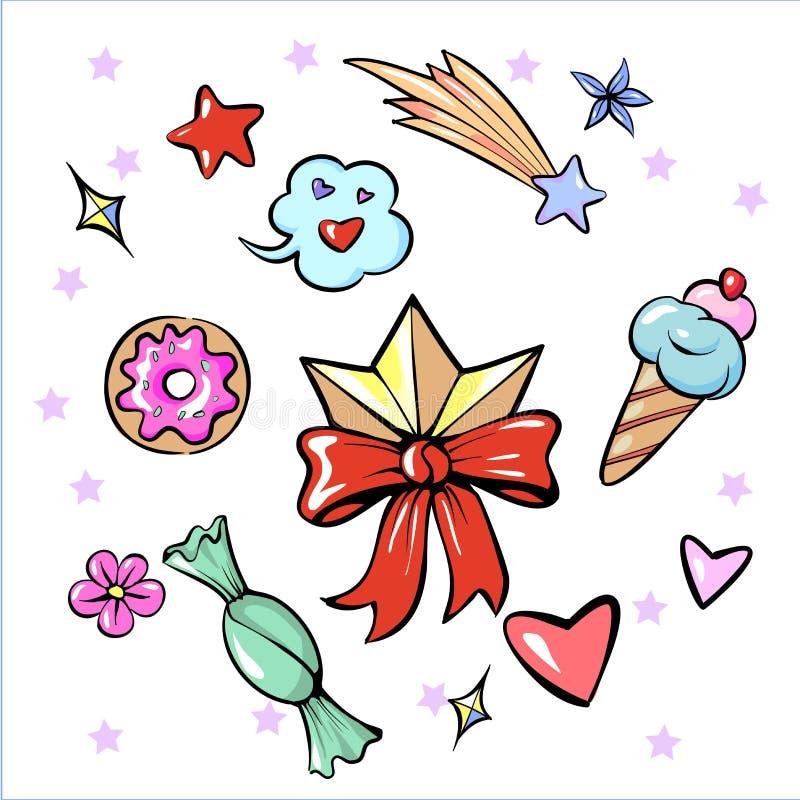 Σύνολο diadem διασκέδασης καθιερώνουσας τη μόδα αυτοκόλλητης ετικέττας λουλουδιών καραμελών παγωτού αστεριών καρδιών γλυκών που α ελεύθερη απεικόνιση δικαιώματος