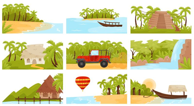 Σύνολο ector Flatv ζωηρόχρωμων τροπικών τοπίων Νησί με τους φοίνικες, την αμμώδη παραλία, τα μικρούς μπανγκαλόου και τον καταρράκ ελεύθερη απεικόνιση δικαιώματος