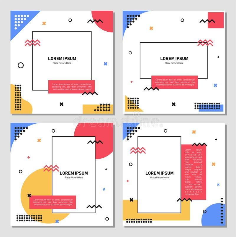 Σύνολο editable τετραγωνικού προτύπου εμβλημάτων Έμβλημα Editable για τις κοινωνικές αγγελίες θέσεων και Ιστού μέσων/Διαδικτύου Έ ελεύθερη απεικόνιση δικαιώματος