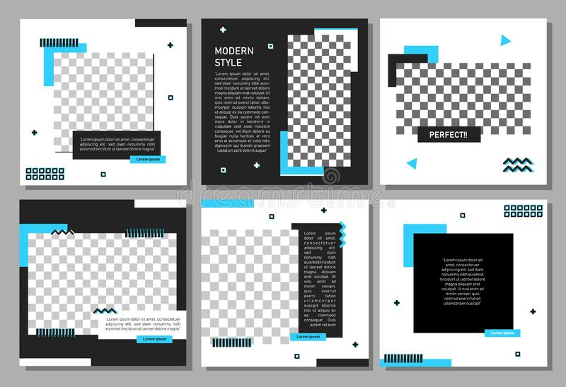 Σύνολο editable τετραγωνικού προτύπου εμβλημάτων Έμβλημα Editable για τις κοινωνικές αγγελίες θέσεων και Ιστού μέσων/Διαδικτύου Έ διανυσματική απεικόνιση