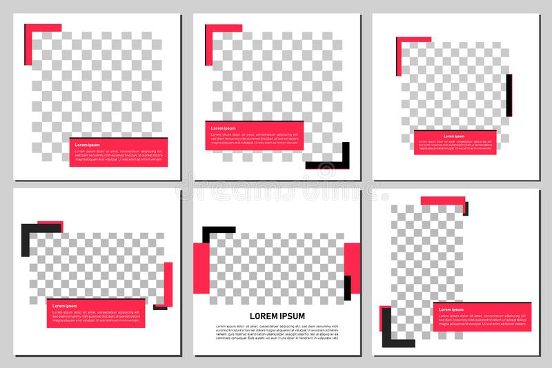 Σύνολο editable τετραγωνικού προτύπου εμβλημάτων Έμβλημα Editable για τις κοινωνικές αγγελίες θέσεων και Ιστού μέσων/Διαδικτύου Έ απεικόνιση αποθεμάτων
