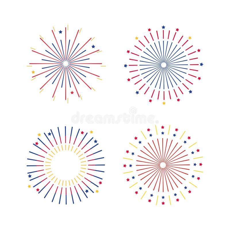 Σύνολο explotion πυροτεχνημάτων στον εορτασμό διακοπών απεικόνιση αποθεμάτων