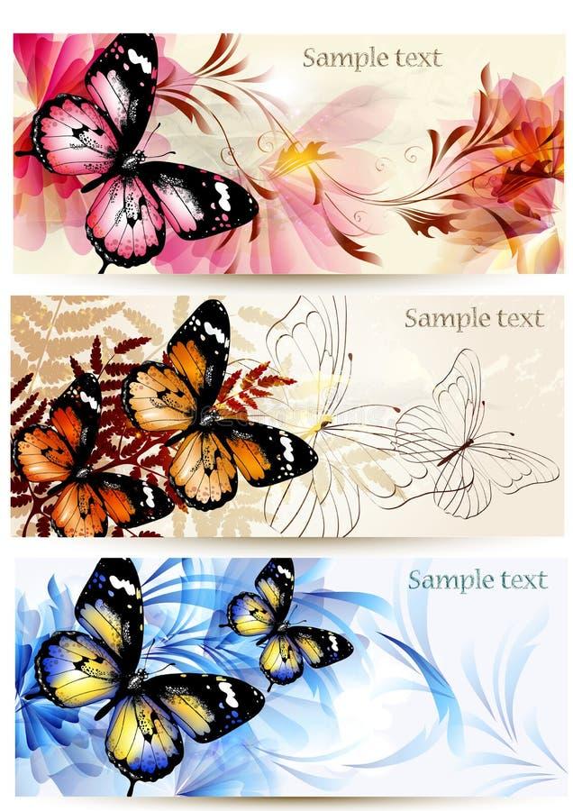 Σύνολο floral εμβλημάτων με τις πεταλούδες διανυσματική απεικόνιση
