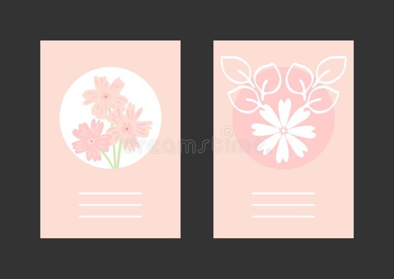 Σύνολο floral ορθογώνιων κάθετων προτύπων για το σχέδιο των ευχετήριων καρτών, καλύψεις, αφίσες, προσκλήσεις ελεύθερη απεικόνιση δικαιώματος