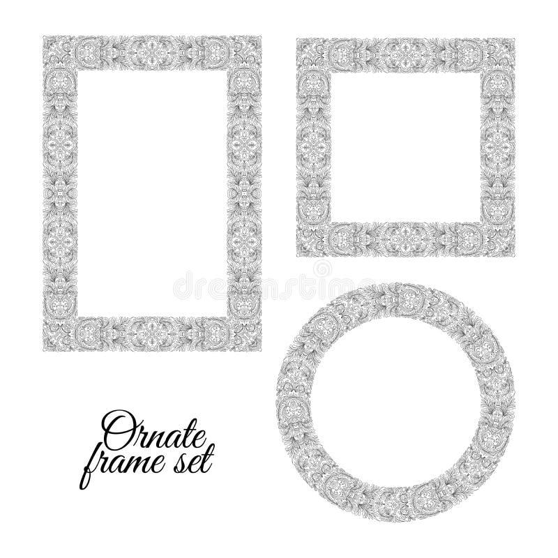 Σύνολο floral πλαισίων doodle στο άσπρο υπόβαθρο Το χέρι σύρει την περίκομψη συλλογή διάνυσμα ελεύθερη απεικόνιση δικαιώματος