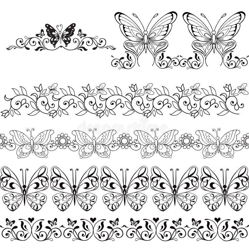 Σύνολο floral συνόρων με τις πεταλούδες/τα στοιχεία/τις δερματοστιξίες σχεδίου απεικόνιση αποθεμάτων