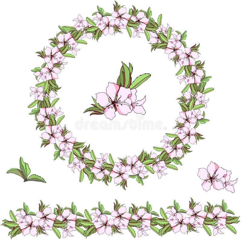 Σύνολο floral σχεδίων Διανυσματικό στεφάνι των ζωηρόχρωμων λουλουδιών και των πράσινων φύλλων Διανυσματική βούρτσα για τη διακόσμ απεικόνιση αποθεμάτων
