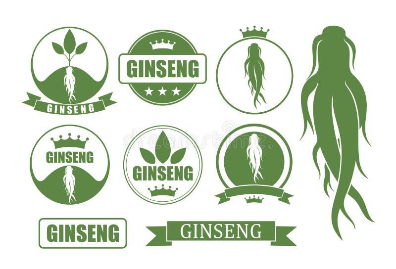 Σύνολο Ginseng Απομονωμένος ginseng στο άσπρο υπόβαθρο διανυσματική απεικόνιση