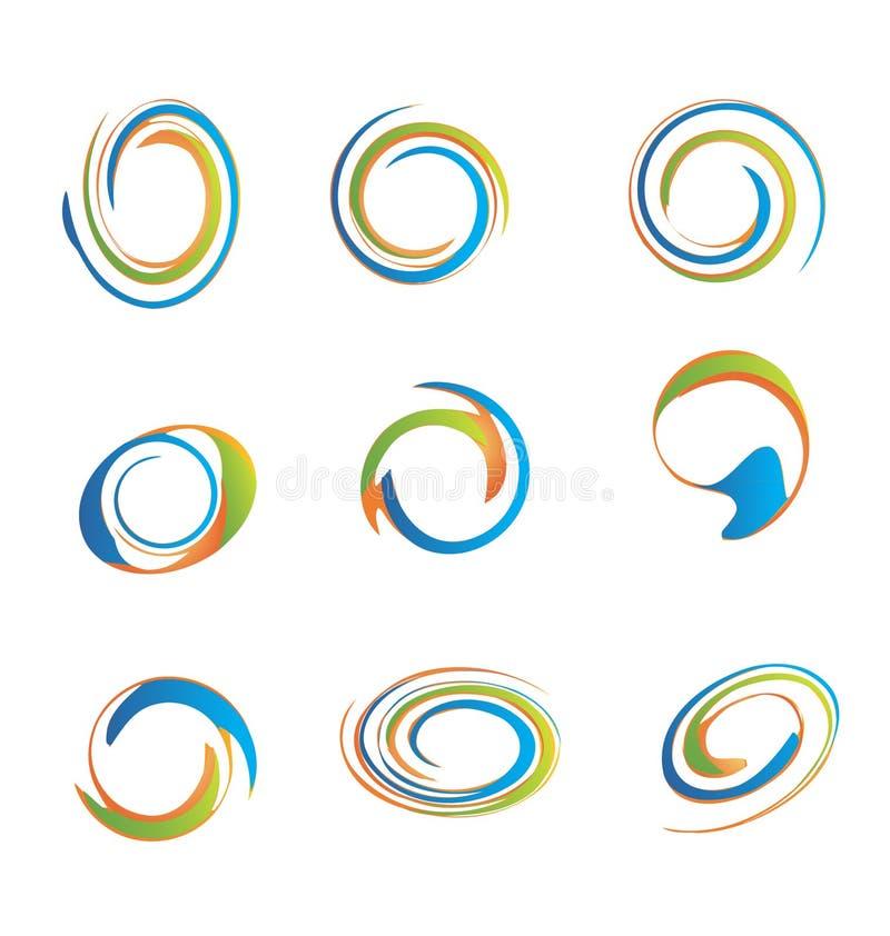 Σύνολο grunge swirly λογότυπων διανυσματική απεικόνιση