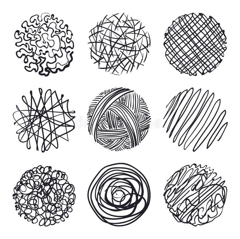 Σύνολο hand-drawn κύκλων, στοιχεία για το desicn, διάνυσμα απεικόνιση αποθεμάτων
