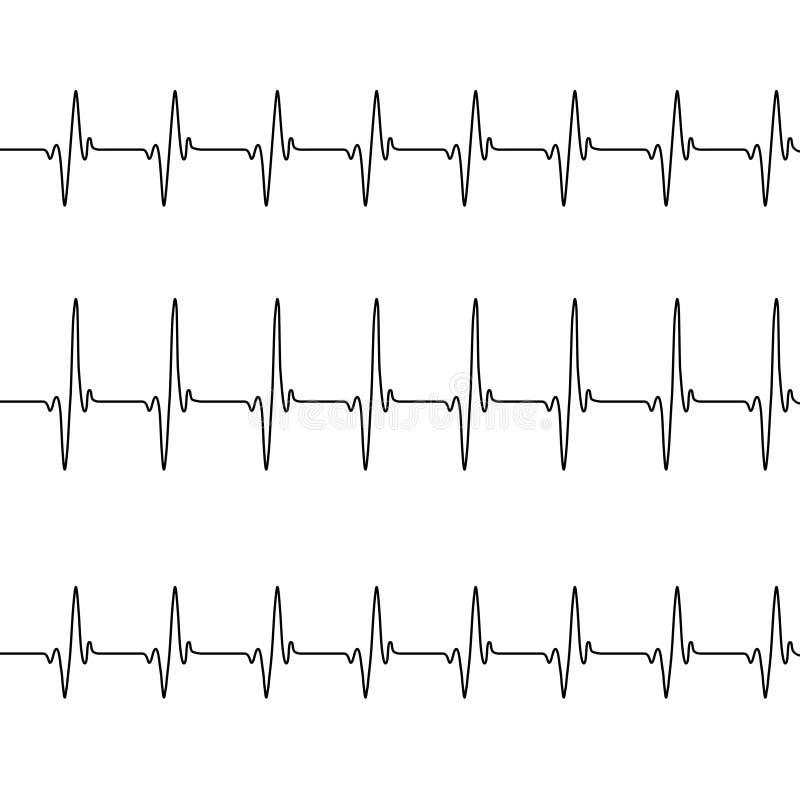 Σύνολο heartbeating άσπρου υποβάθρου γραμμών τρία διανυσματική απεικόνιση