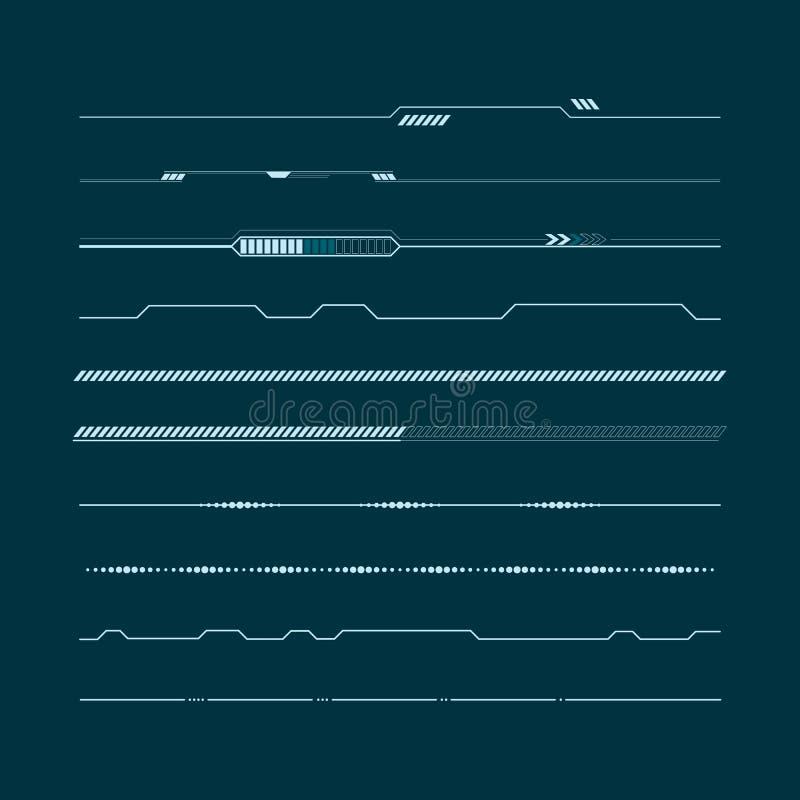 Σύνολο infographic στοιχείων γραμμών hud Head-up στοιχεία επίδειξης για τον Ιστό και app Φουτουριστικό ενδιάμεσο με τον χρήστη Δι απεικόνιση αποθεμάτων