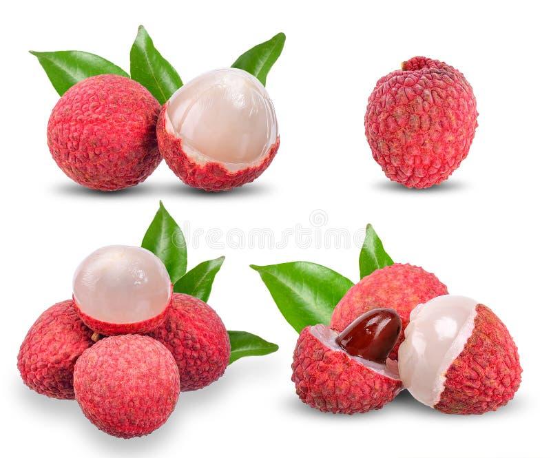 Σύνολο lychee που απομονώνεται στο άσπρο υπόβαθρο στοκ εικόνες με δικαίωμα ελεύθερης χρήσης