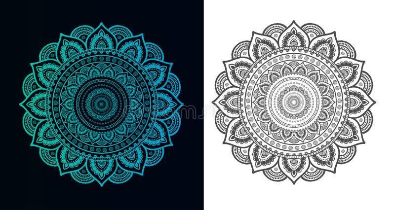Σύνολο Mandalas για το χρωματισμό του βιβλίου Διακοσμητικές στρογγυλές διακοσμήσεις απεικόνιση αποθεμάτων