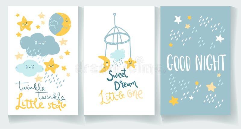 Σύνολο nighty καρτών μωρών νύχτας Η καληνύχτα, αστράφτει αστέρι, γλυκό όνειρο διανυσματική απεικόνιση