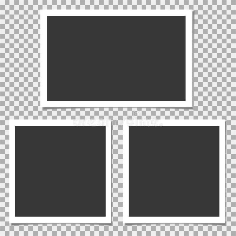 Σύνολο Polaroid πλαισίου φωτογραφιών Διανυσματικό πρότυπο για την καθιερώνουσα τη μόδα φωτογραφία ή την εικόνα σας ελεύθερη απεικόνιση δικαιώματος