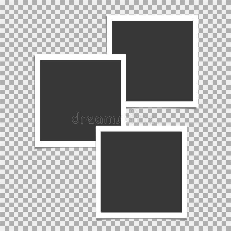 Σύνολο Polaroid πλαισίου φωτογραφιών Διανυσματικό πρότυπο για την καθιερώνουσα τη μόδα φωτογραφία ή την εικόνα σας απεικόνιση αποθεμάτων
