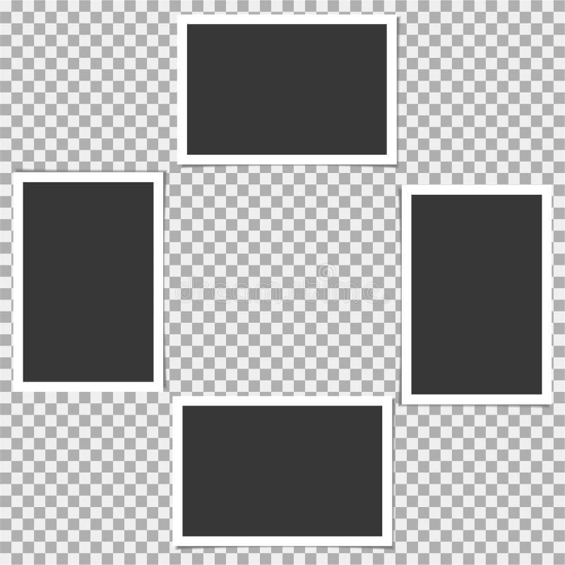 Σύνολο Polaroid πλαισίου φωτογραφιών Διανυσματικό πρότυπο για την καθιερώνουσα τη μόδα φωτογραφία ή την εικόνα σας διανυσματική απεικόνιση